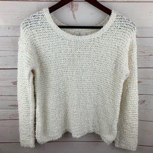 Joie | White Fuzzy Cotton Sweater